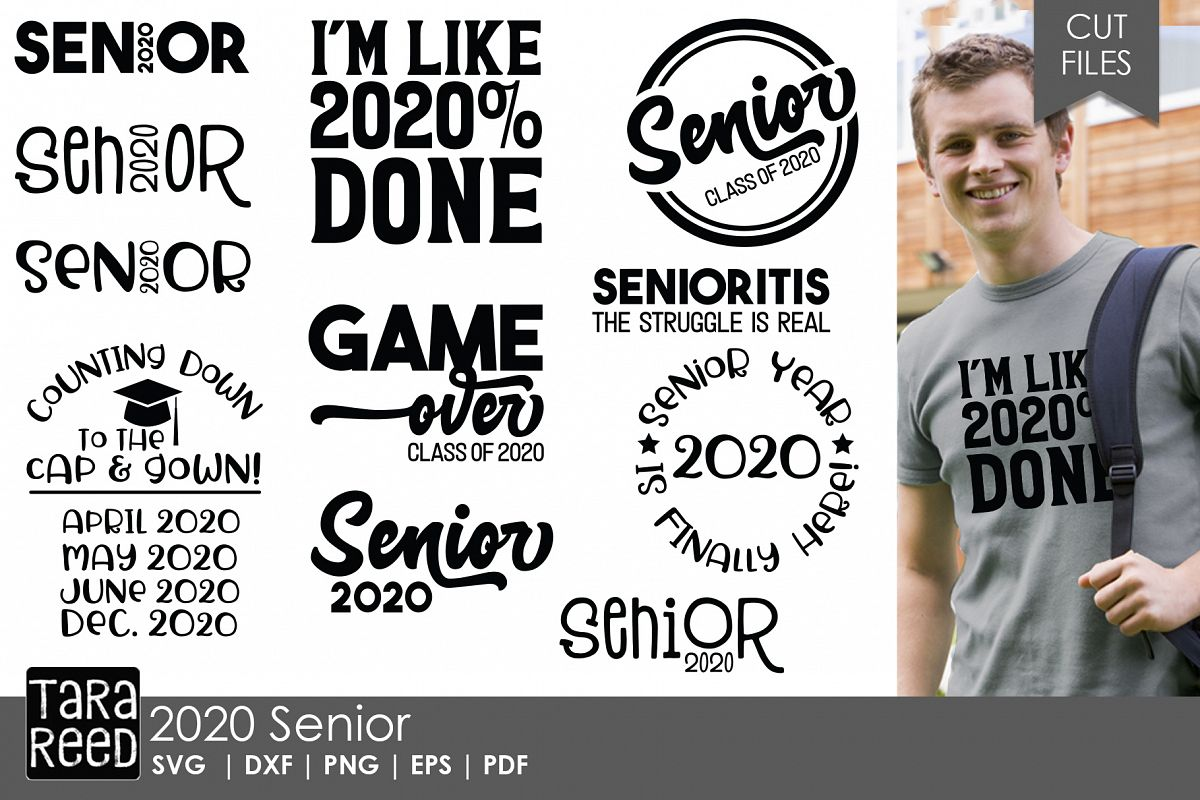 2020 Senior - School SVG and Cut Files for Crafters example image 1
