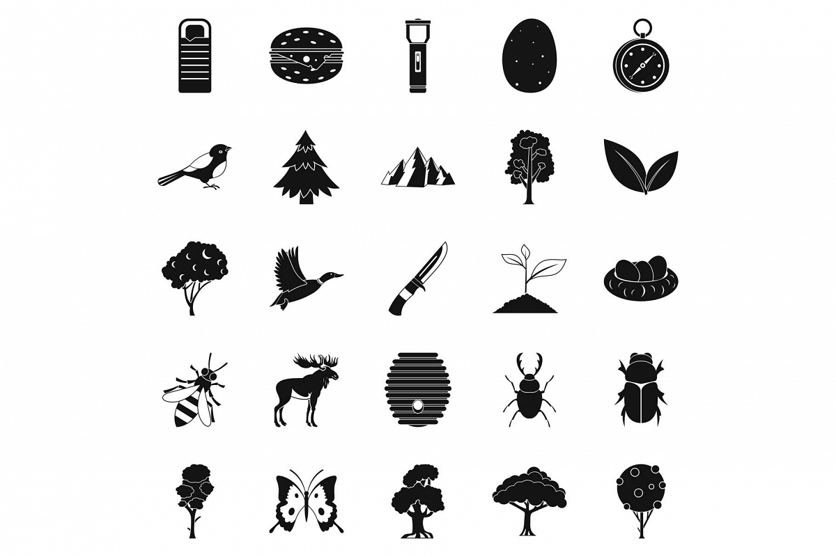 Wild nature icons set, simple style example image 1