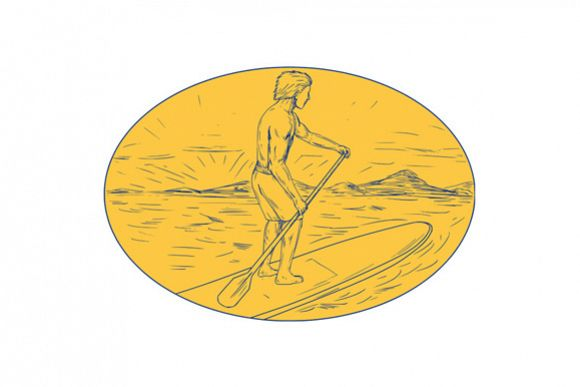 Dude Stand Up Paddle Board Oval Drawing example image 1