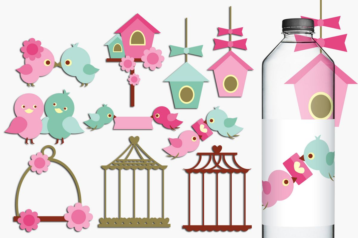 Love birds, birdcage, birdhouse clip art illustrations example image 1