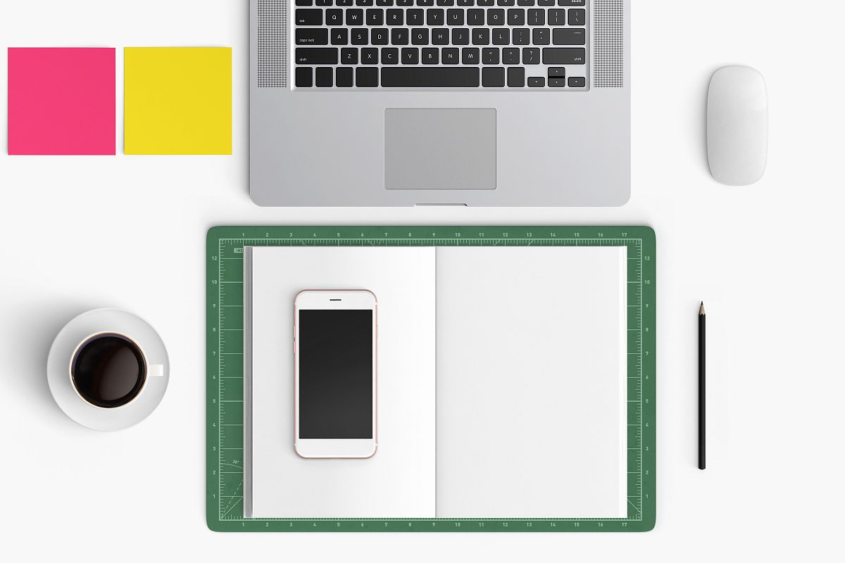 Modern workplace. Top view. Flat lay style. 19 example image 1