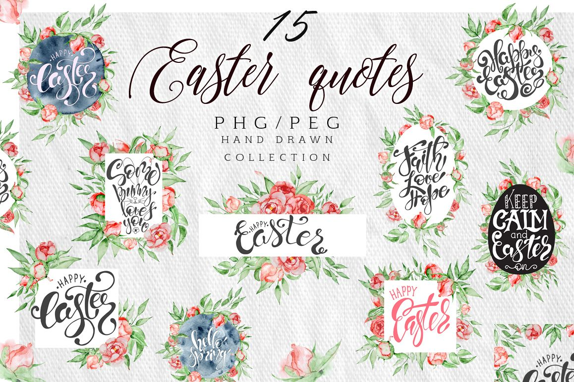 Easter quotes Floral watercolor lettering example image 1