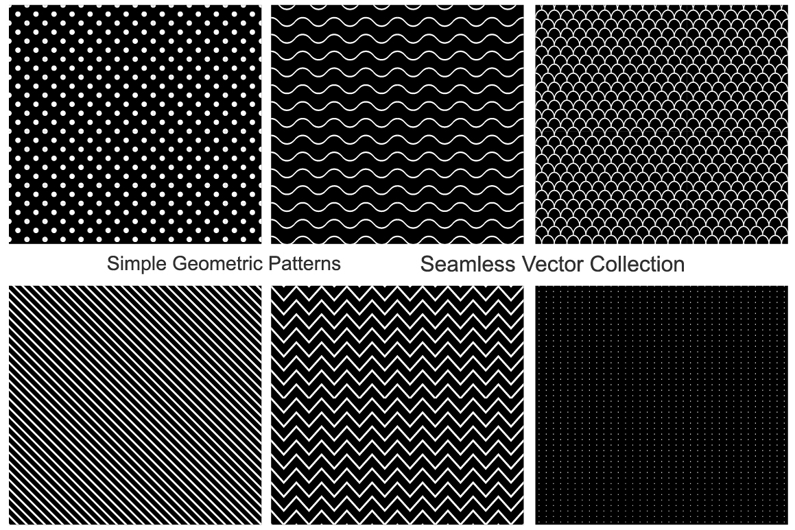 Collection of seamless patterns. B&W example image 1