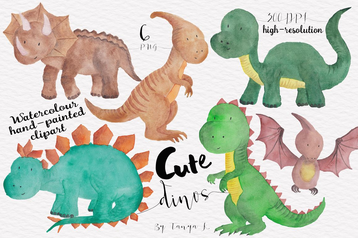 Cute Dinisaur Watercolor clipart example image 1