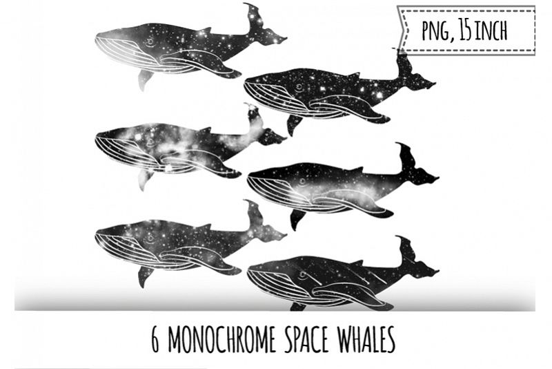 Monochrome space whales clipart. Galaxy whale example image 1