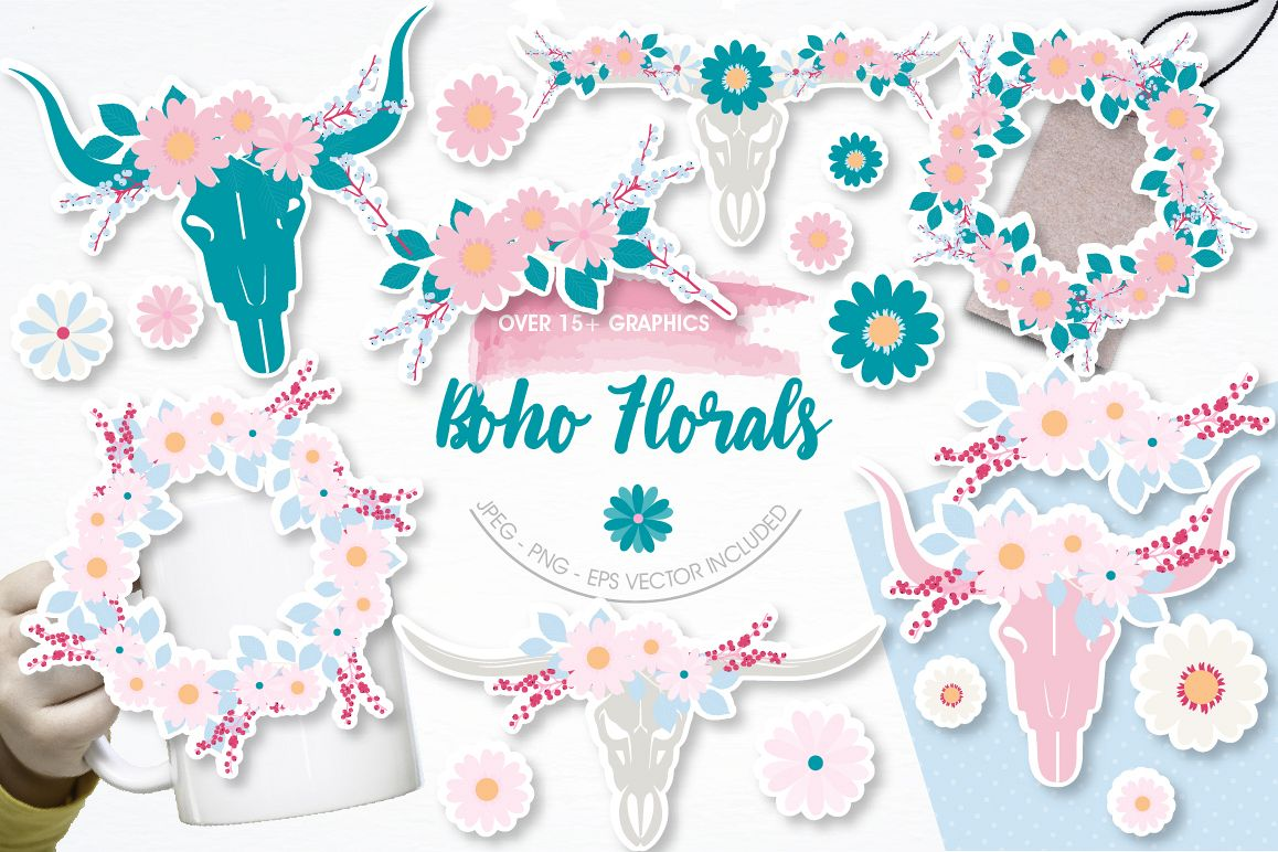 Boho Florals graphics and illustrations example image 1