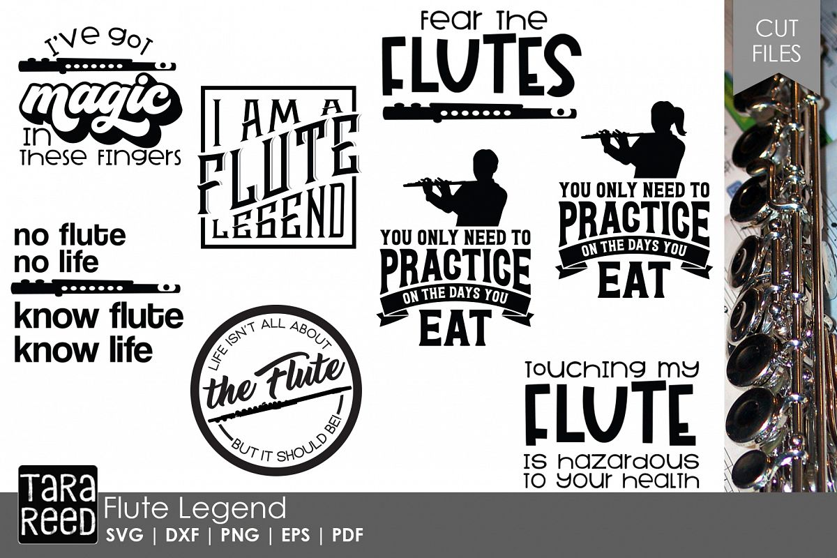 Flute Legend - Flute SVG & Cut Files for Crafters example image 1
