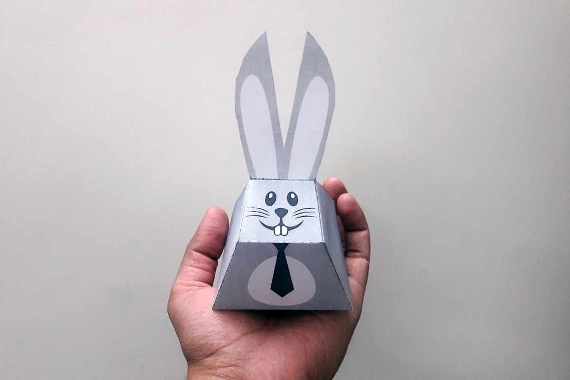 DIY Easter bunny favors - 3d papercraft example image 1