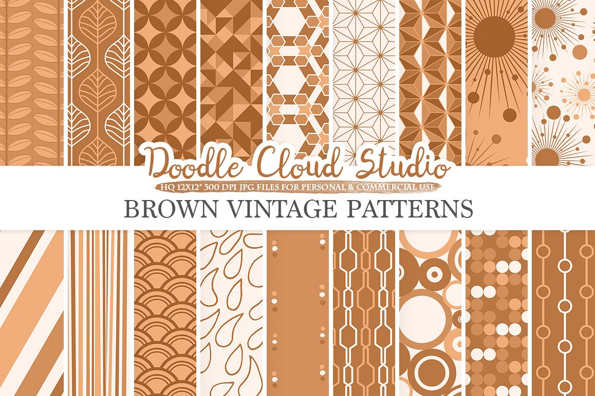 Brown Retro digital paper, Geometric Vintage patterns, Brown digital backgrounds, Instant Download, for Personal & Commercial Use example image 1