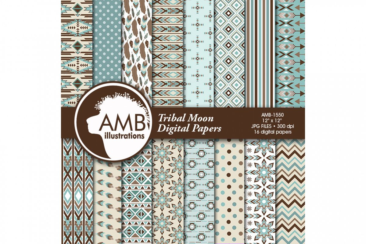Arrows Tribal, Feathers Digital Papers, Tribal misty blue and brown Papers, Arrows Triangles, Chevron, instant download, AMB-1550 example image 1