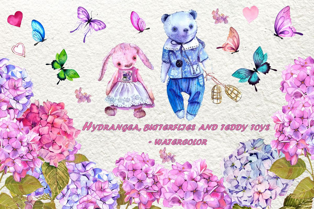 Watercolor clipart of hydrangea, butterflies and teddy toys example image 1