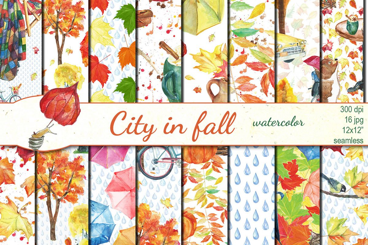 Watercolor City in fall seamless patterns example image 1