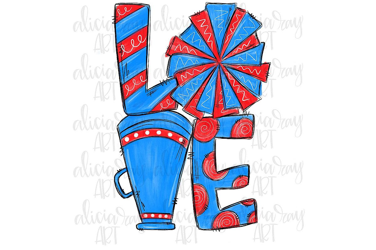 Cheer Love Columbia Blue and Red example image 1