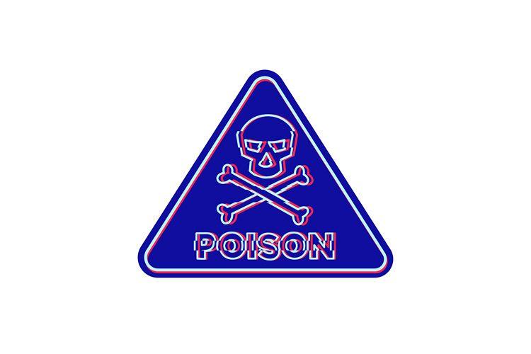 Poison Symbol Neon Flickering Icon example image 1
