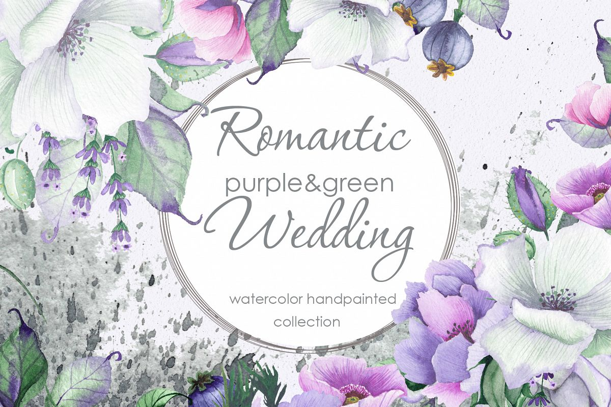 Floral purple green wedding collection example image 1