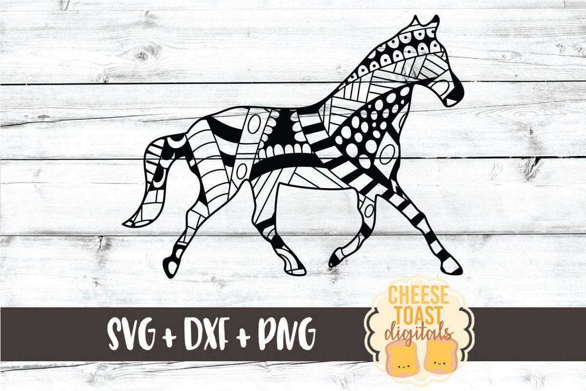 Horse - Zen Doodle Art - Animal SVG PNG DXF Files example image 1