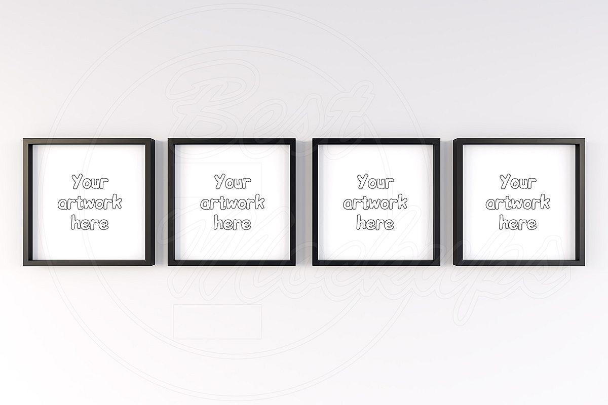 Set of 4 black square mockup frames example image 1