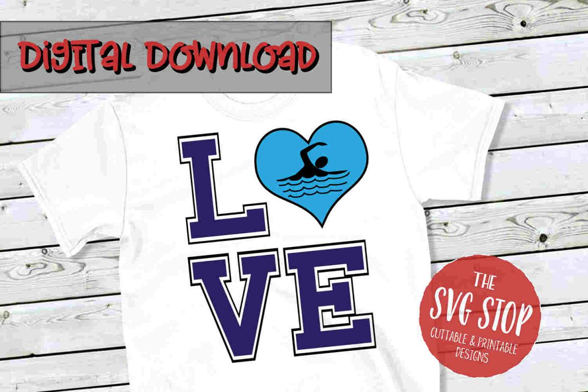 Love Swim 2-SVG, PNG, DXF example image 1