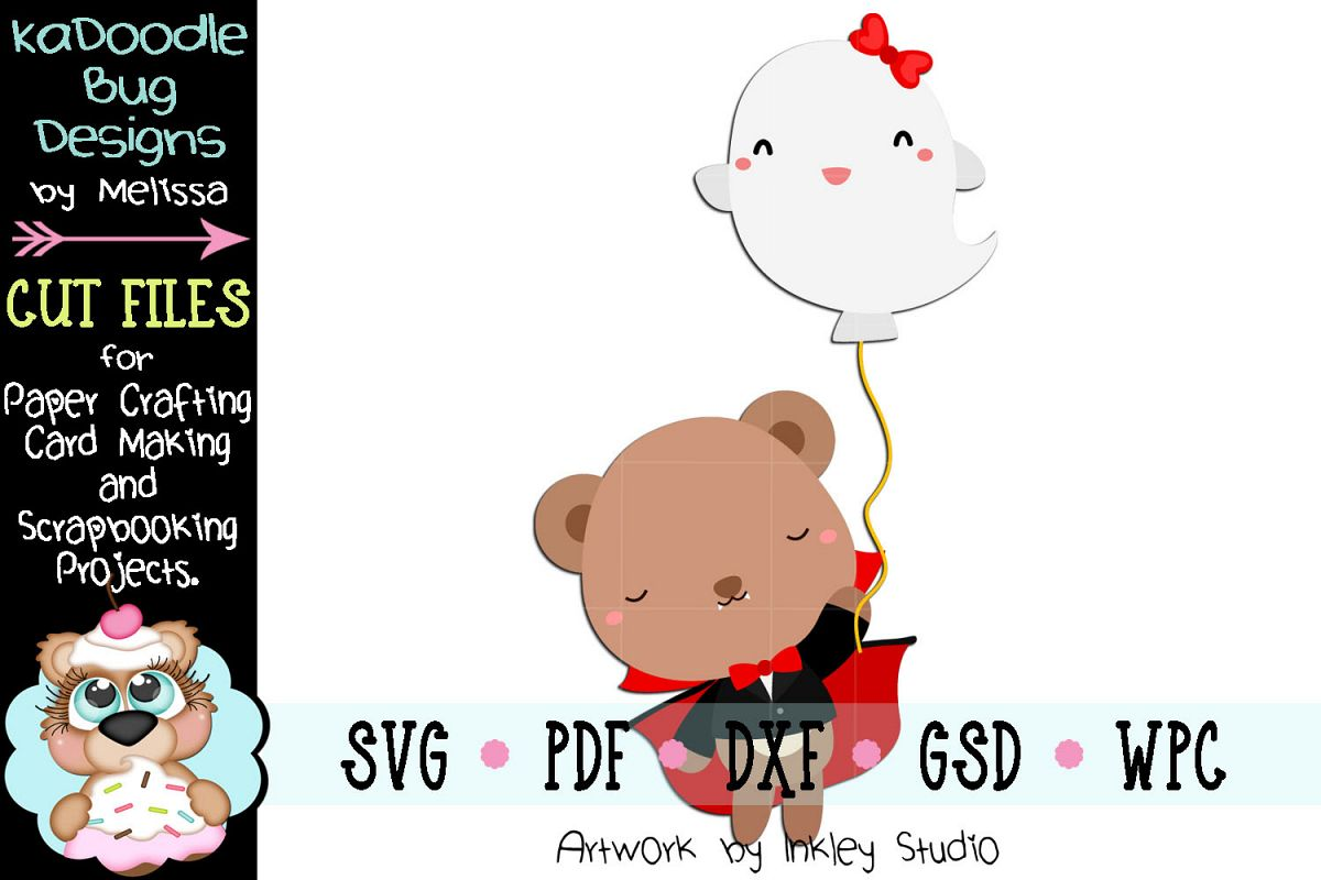 Halloween Dracula Bear Cut File - SVG PDF DXF GSD WPC example image 1