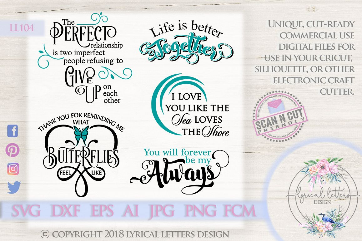 Love and Wedding Bundle of 5 SVG DXF Cut Files LL104 example image 1