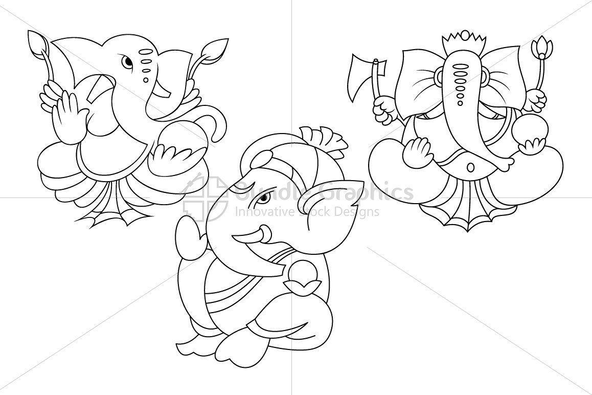 Ganesha - Indian Hindu Lord Illustrations Set example image 1