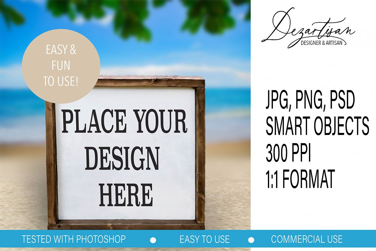 Beach Summer Square Wood Sign Mock up Bundle PSD JPG PNG example image 1