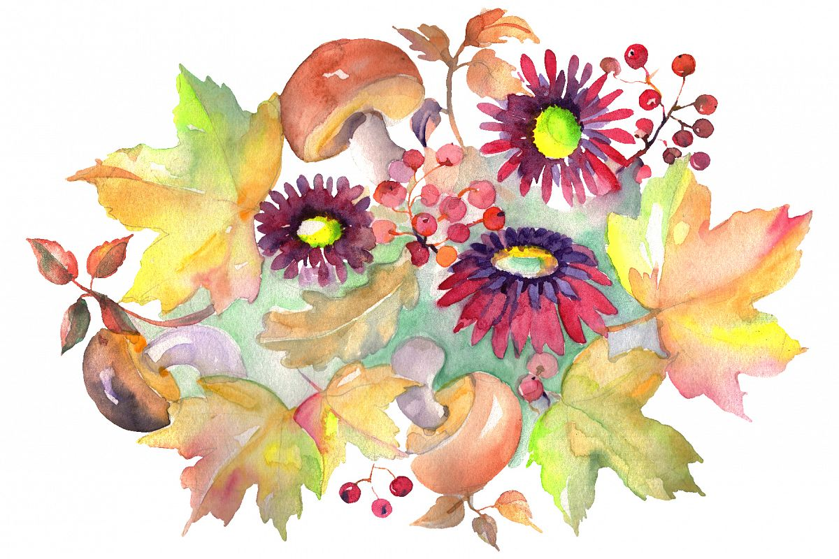 Bouquet with asters and mushrooms Watercolor png example image 1