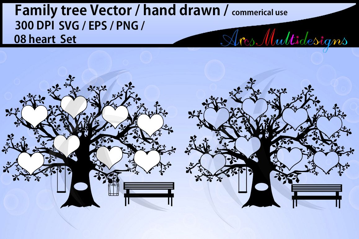 family tree silhouette SVG, EPS, Png, 08 Heart set example image 1