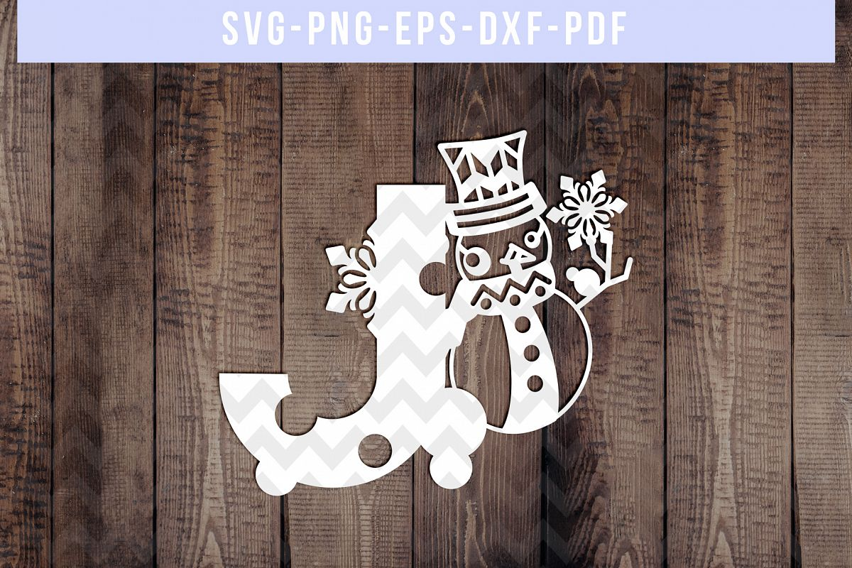 Snowman Font J Paper Cut Template, Winter Cutting SVG, DXF example image 1