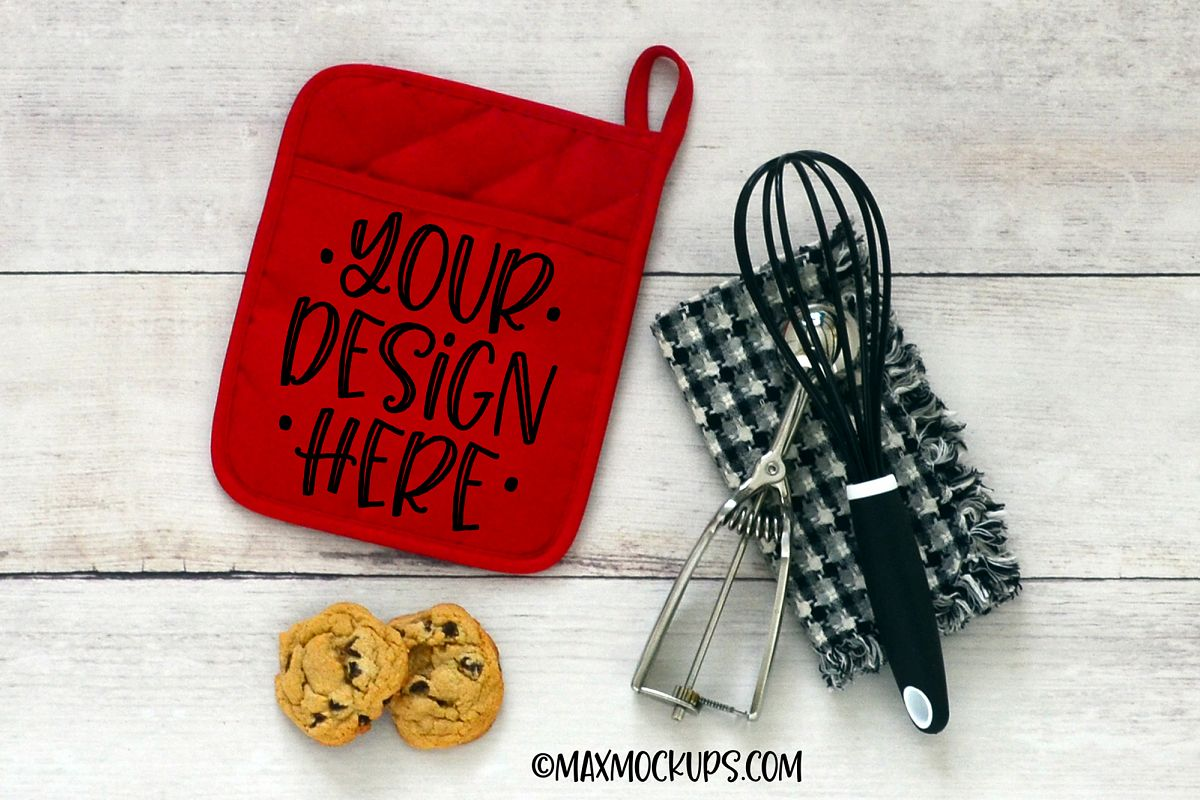 Red pocket kitchen potholder mockup, oven mitt hot pad example image 1