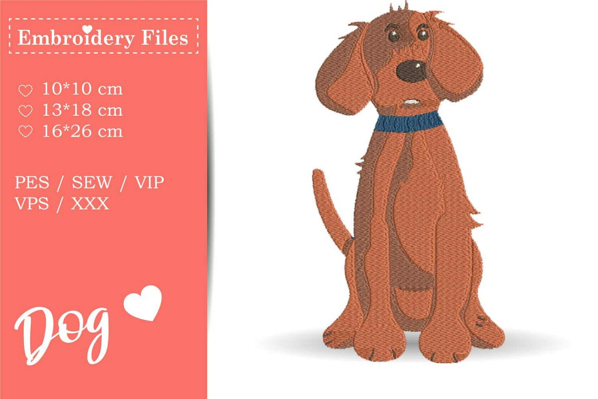 Cute big Dog - Embroidery File for Beginners example image 1