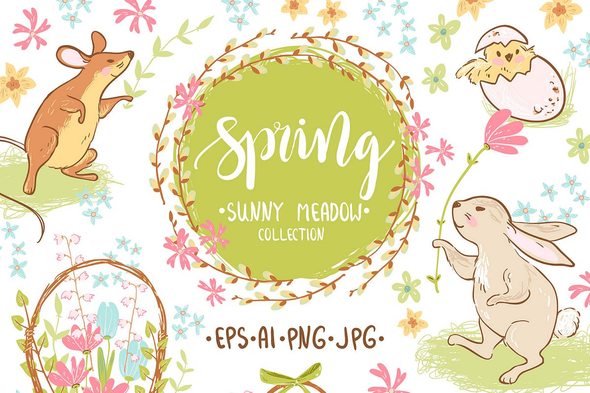 Spring meadow graphic set example image 1