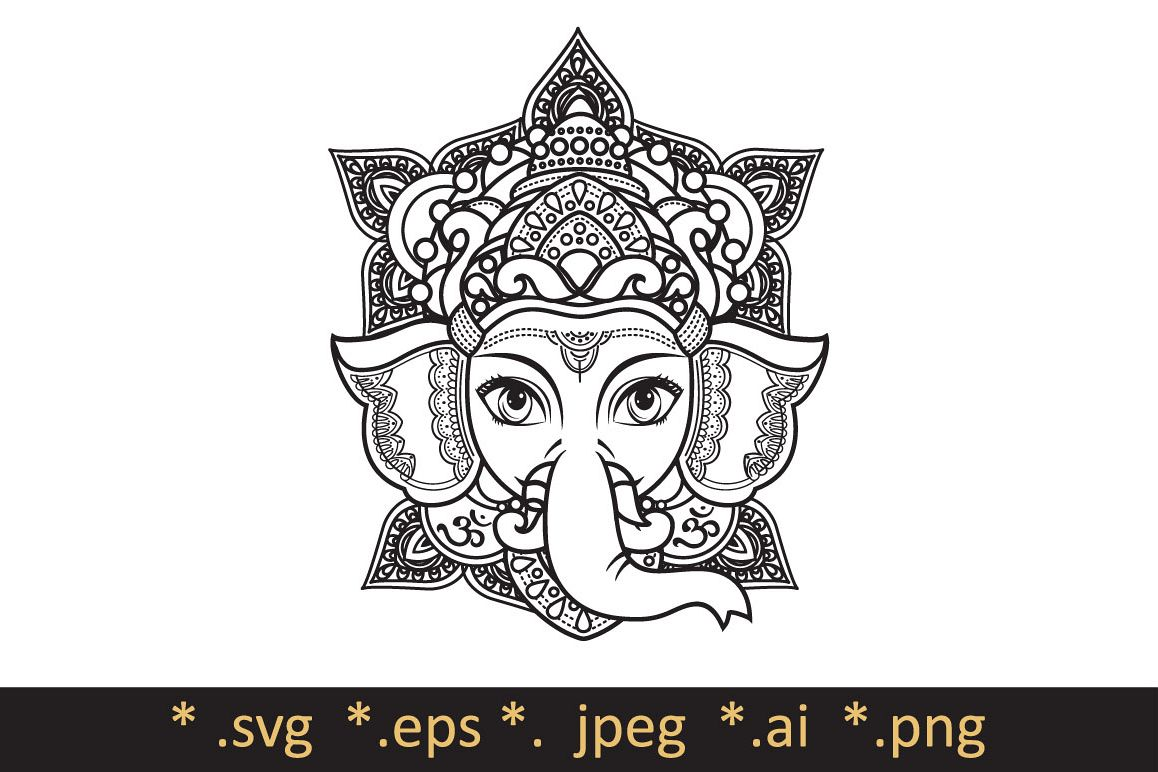 Lord Ganesha. Template for coloring book. Cutting file svg. Vector ...
