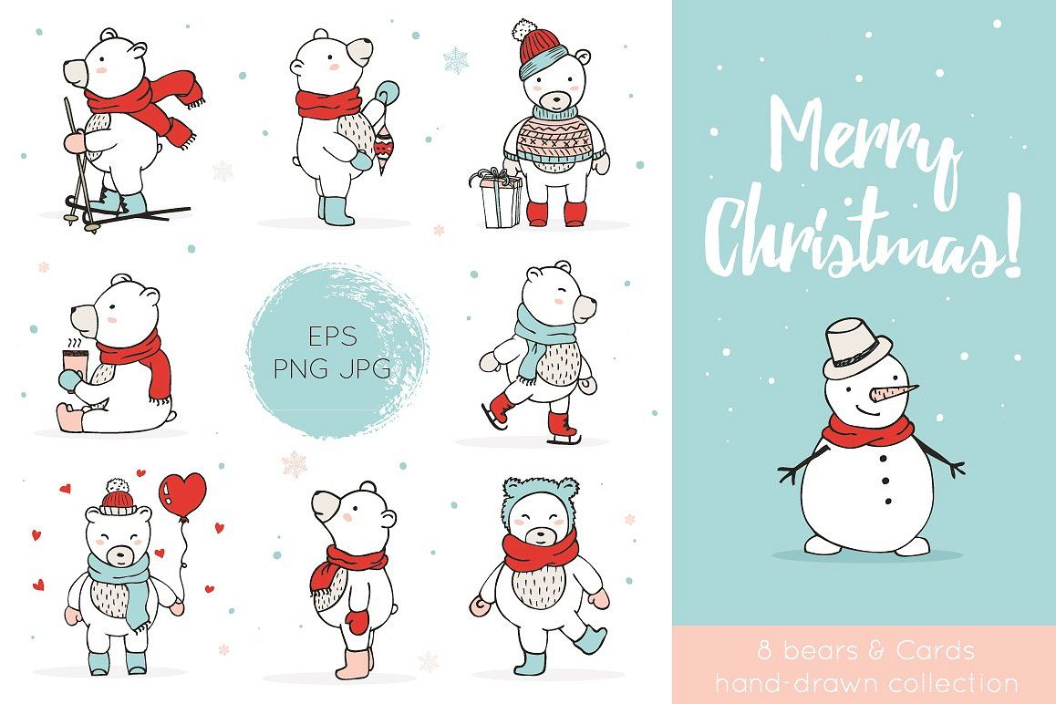 Christmas Bears Icons & Cards example image 1