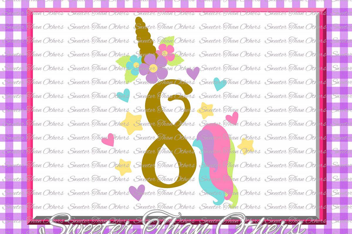Eighth Birthday SVG, 8th Birthday Unicorn svg example image 1