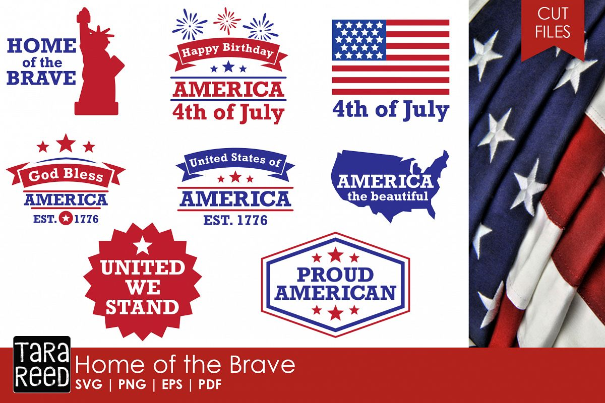 Home of the Brave - America SVG and Cut Files for Crafters example image 1