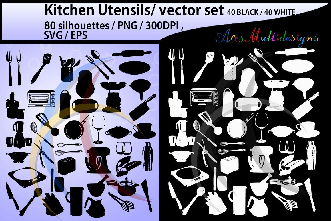 Kitchen Utensils silhouette svg / Kitchen Utensils clipart / Kitchen Utensil for scrapbook and card making /vector / EPS / PNG / craft files example image 1