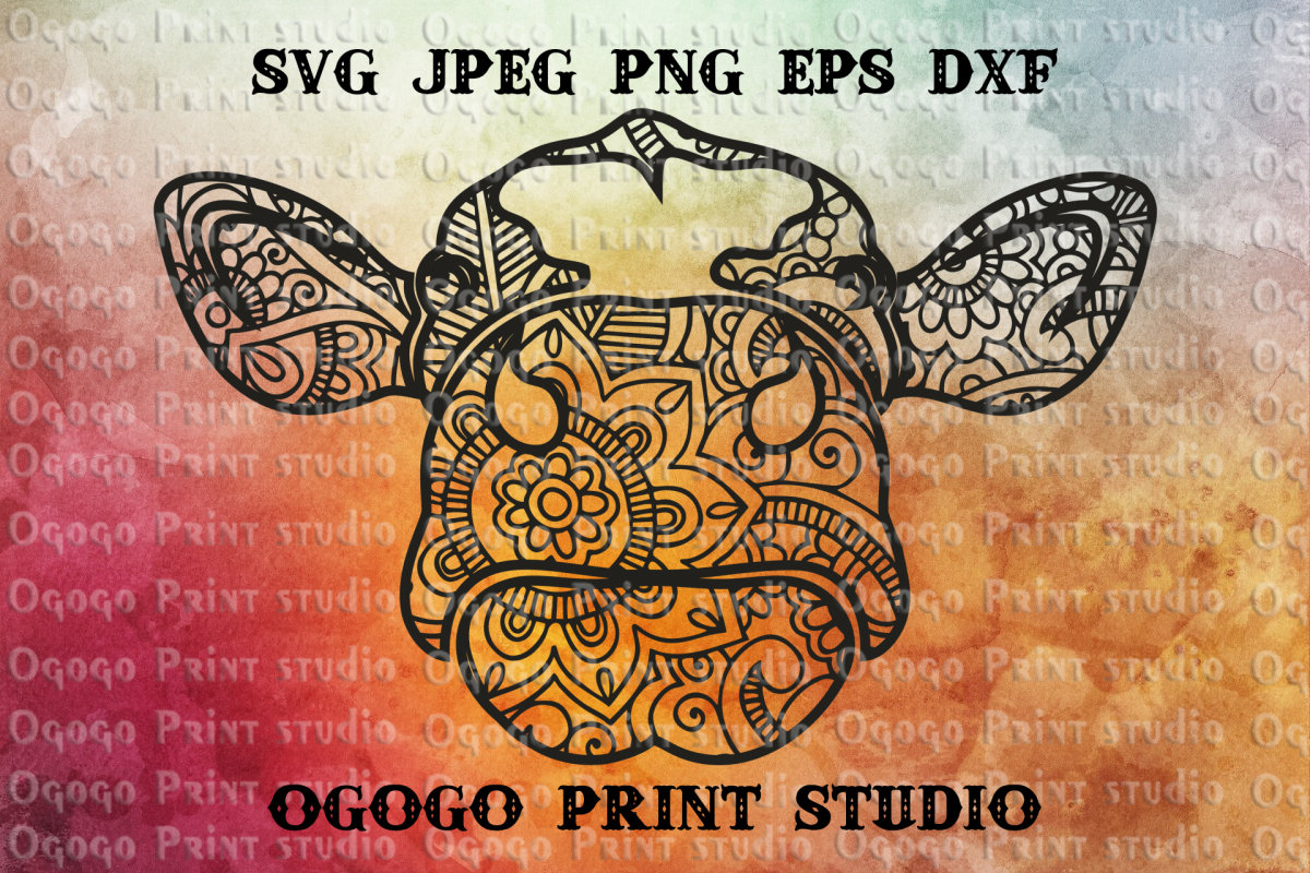 Cow Svg, Holstein Dairy Cow Svg File, Zentangle svg, Mandala example image 1