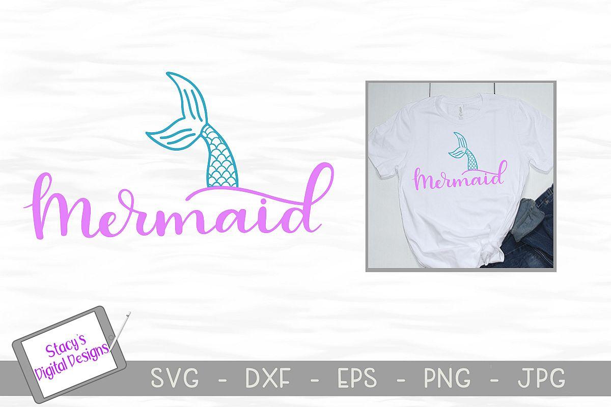 Mermaid SVG - Mermaid tail cut file, handlettered example image 1