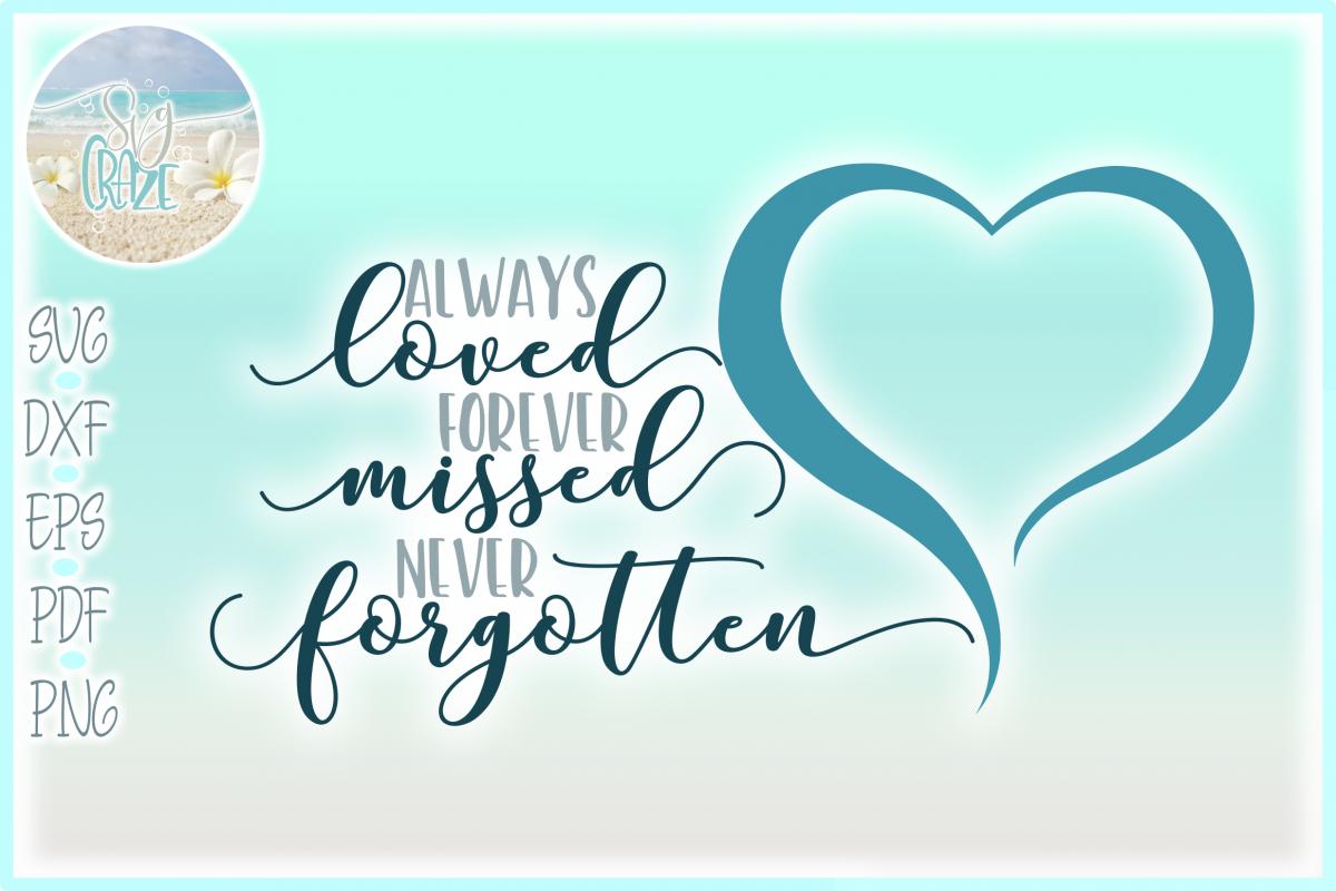 Always Loved Forever Missed Never Forgotten Memorial Quote