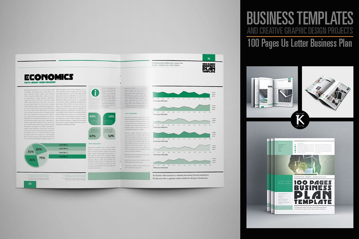100 Pages Us Letter Business Plan example image 1