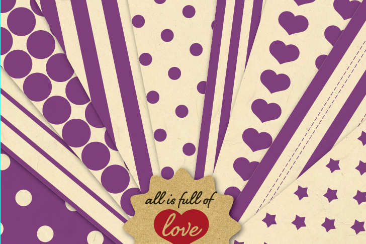 Vintage Background Patterns in Purple Digital Paper Pack with Stripes, Dots, Stars and Hearts example image 1