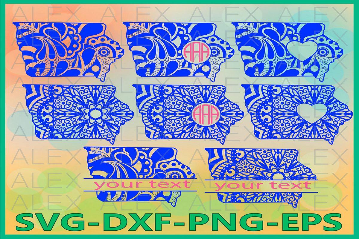 Iowa State SVG, Iowa Mandala SVG, Iowa Svg Files, Dxf example image 1