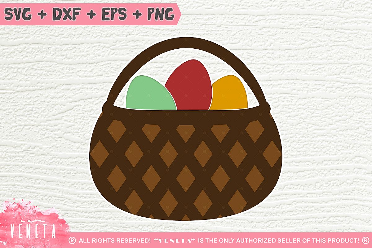Easter Basket| Egg Hunting | SVG, DXF, Cutting Files example image 1