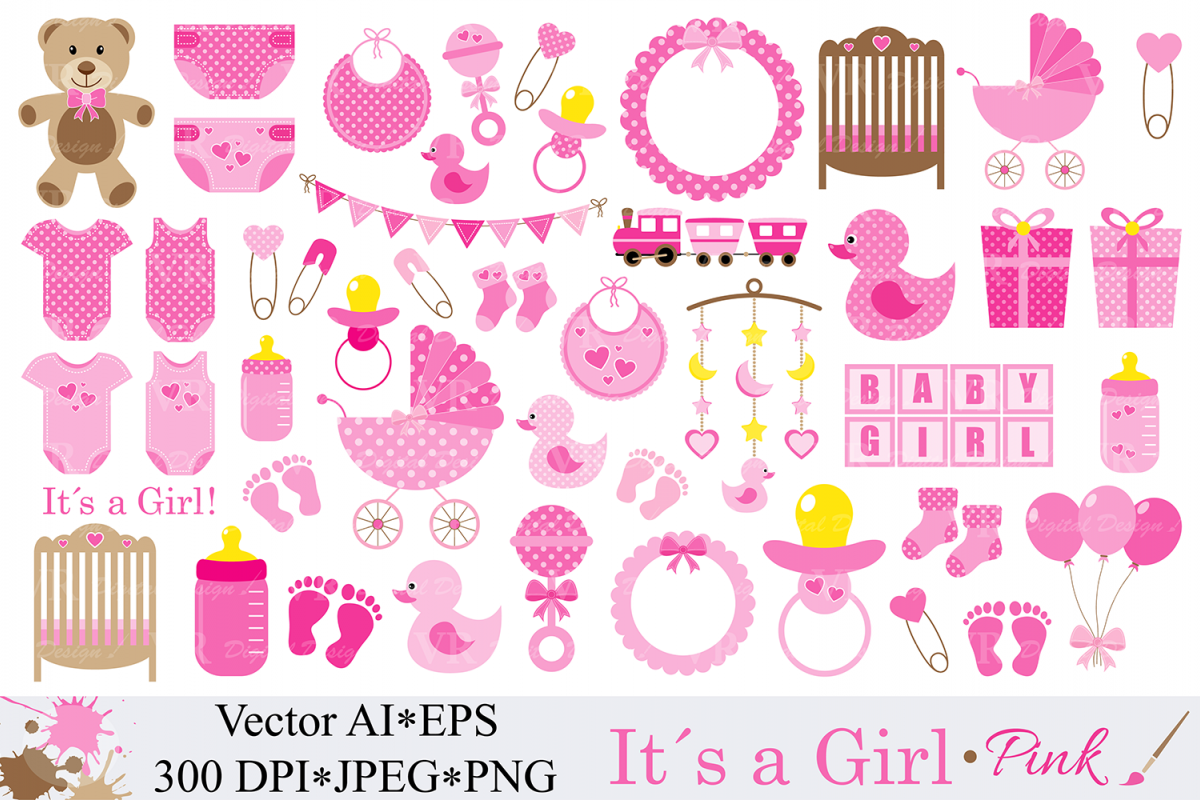 Baby Girl Clipart Pink Baby Shower Clipart Nursery Clip Art It S A