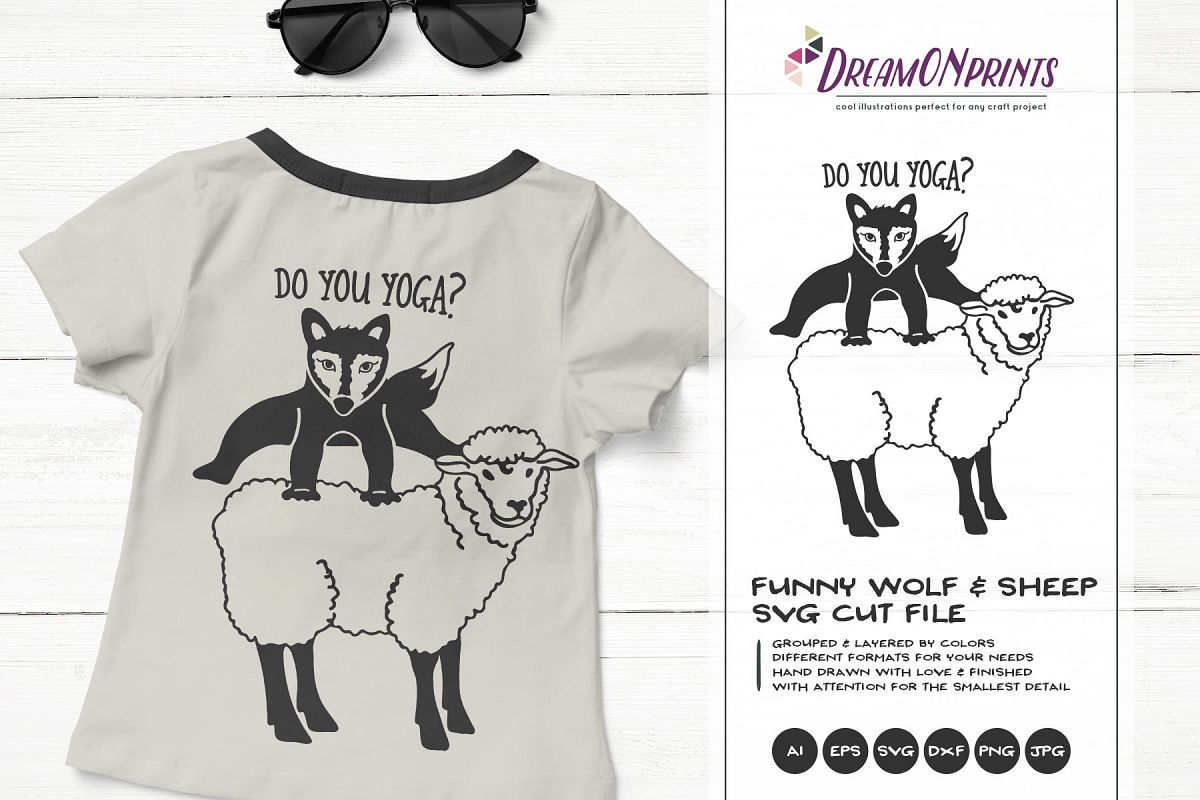 Do You Yoga? | Funny Wolf & Sheep SVG | Yoga SVG Cut Files example image 1