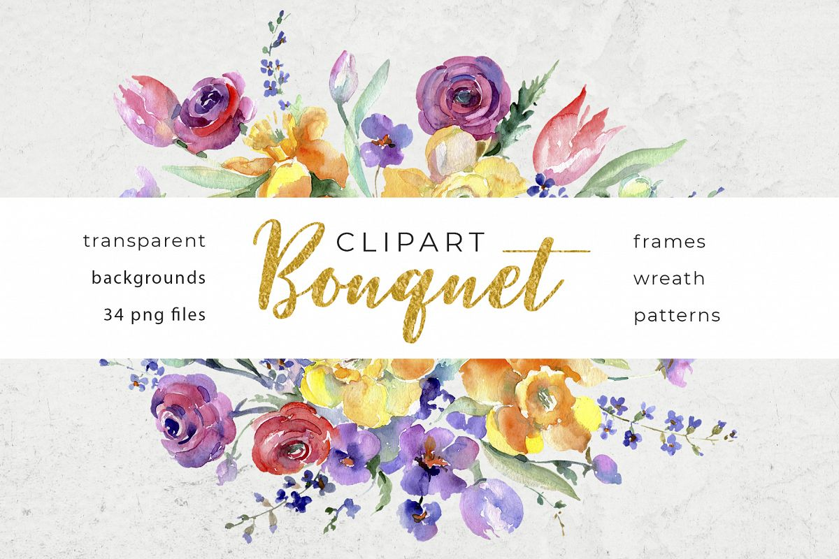 Bouquet flowers colorful mix watercolor png example image 1