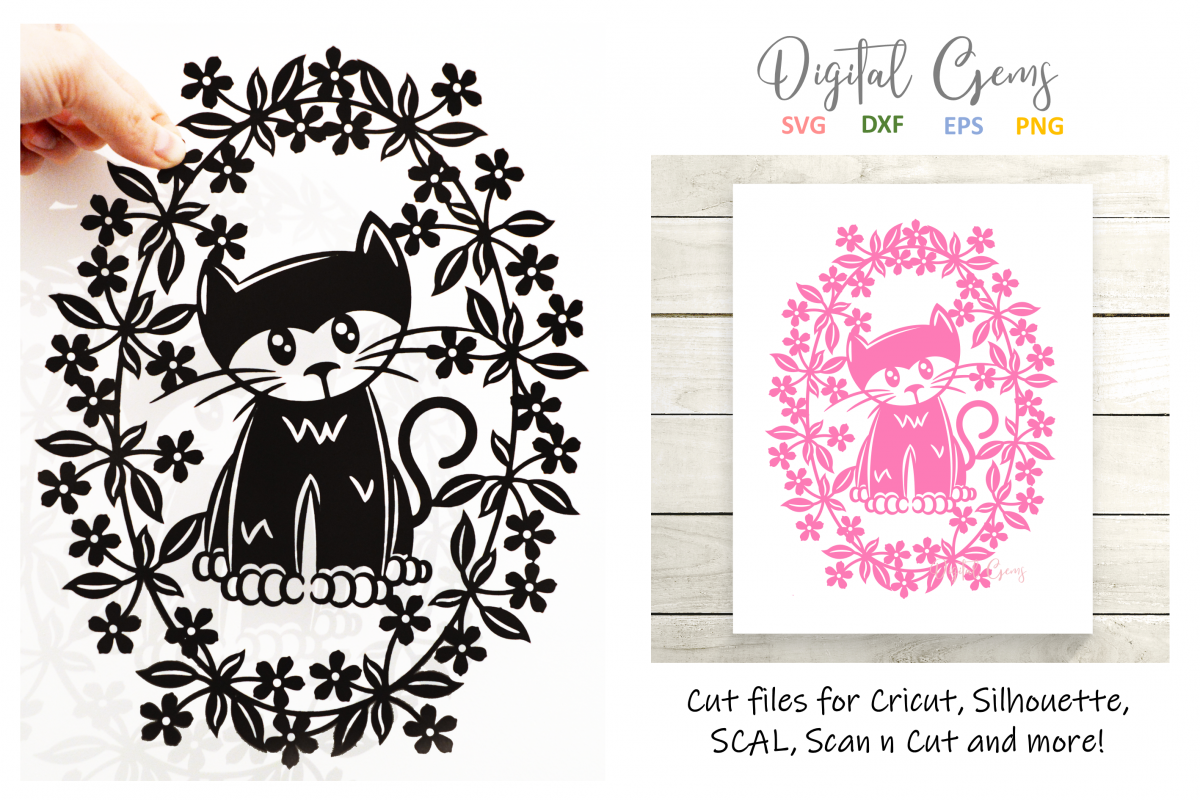 Cat paper cut design SVG / DXF / EPS / PNG files example image 1