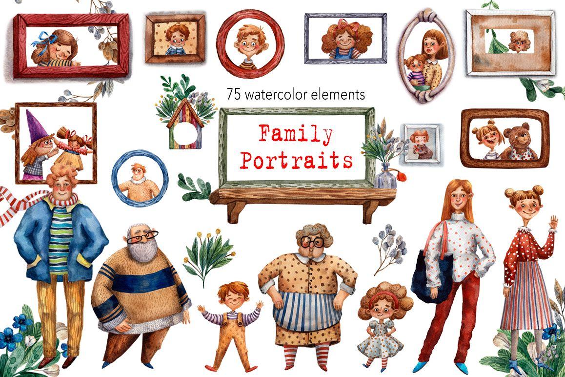 Family Portraits - Watercolor Clip Art Set example image 1
