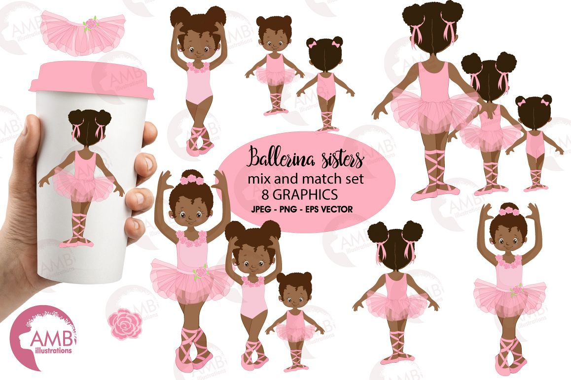 Ballerina sisters, ballerina friends, ballet clipart, graphics and illustrations AMB-2264 example image 1